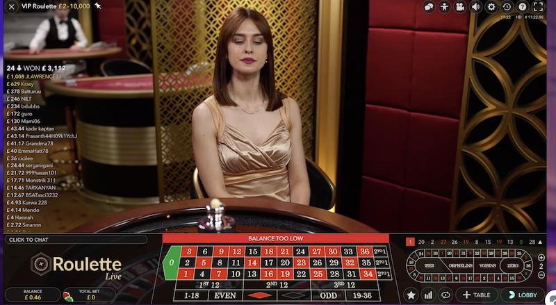 Live Dealer Roulette Table
