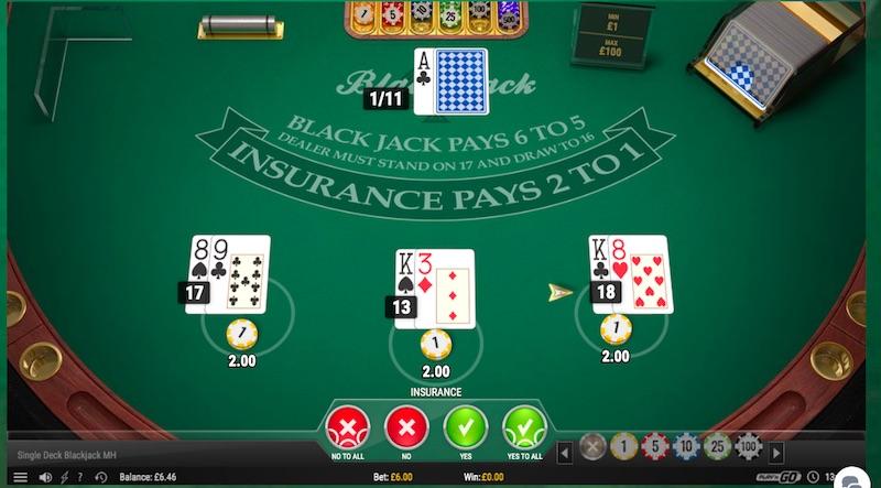 Single Deck, Multi-Hand Blackjack